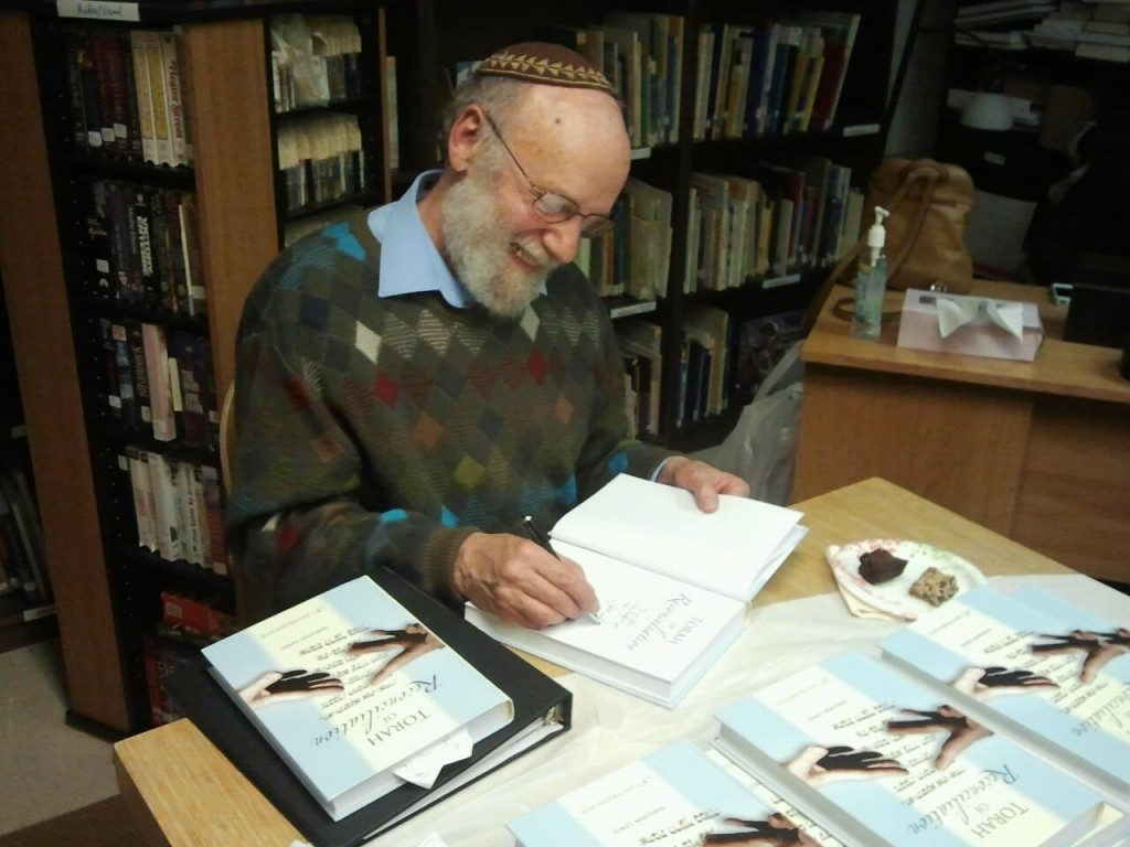 Signing books for congregants! — with Sheldon Lewis at Rabbi Sheldon Lewis at Beth Tikvah