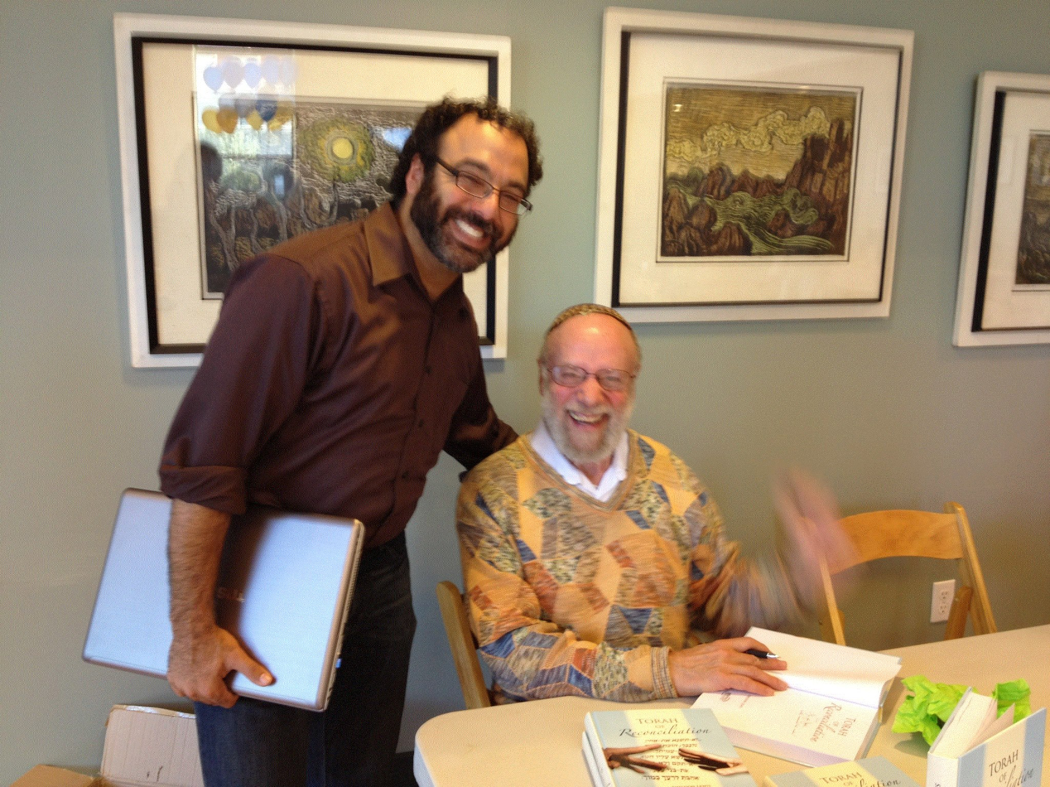 Thanks Rabbi Rosalind Glazer for the sweet photo of me and Rabbi Sheldon Lewis from his wonderful teaching at Congregation Netivot Shalom last week! Don't miss his teaching this Sunday November 11, 3-00pm at Afikomen Judaica! — with Sheldon Lewis